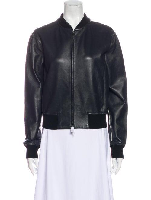 Vince Leather Bomber Jacket Black