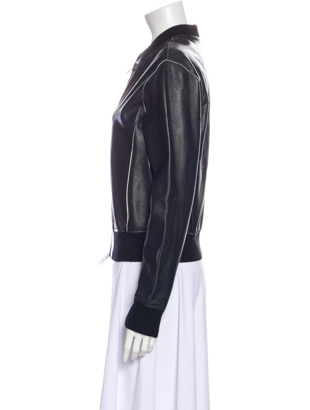 Vince Leather Bomber Jacket Black - image 2