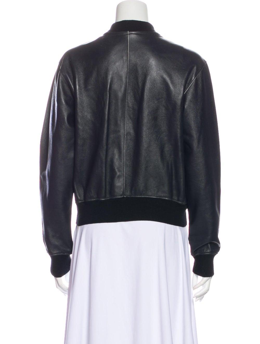 Vince Leather Bomber Jacket Black - image 3