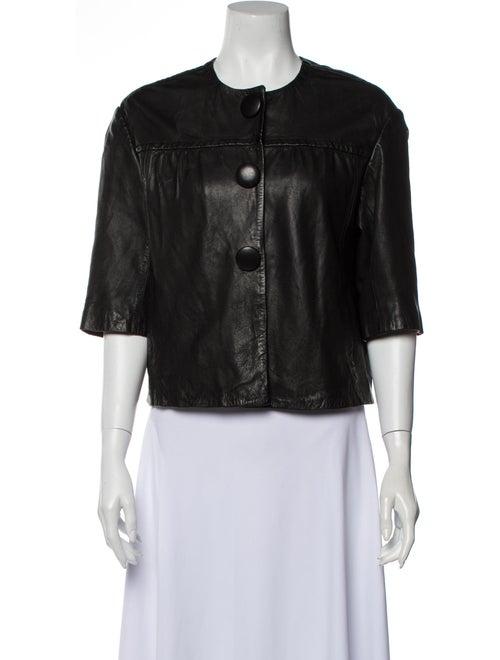 Vince Leather Evening Jacket Black