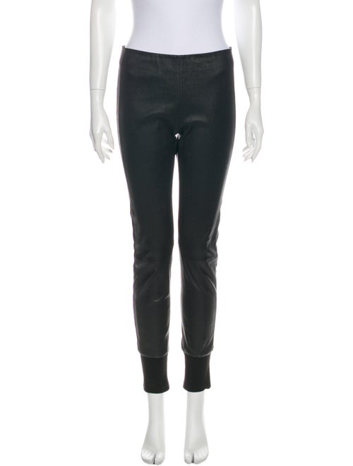 Vince Leather Skinny Leg Pants Black