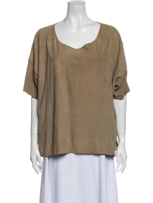 Vince Leather Scoop Neck T-Shirt - image 1