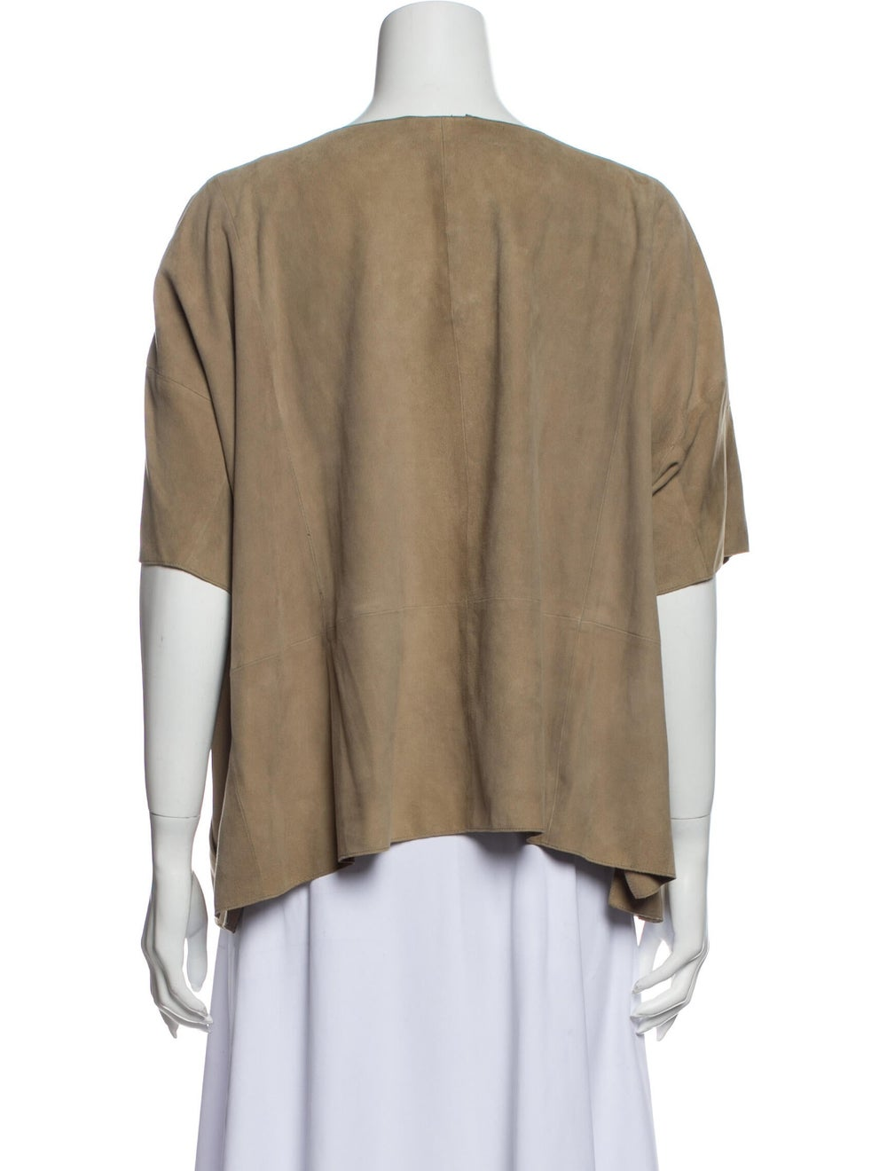 Vince Leather Scoop Neck T-Shirt - image 3