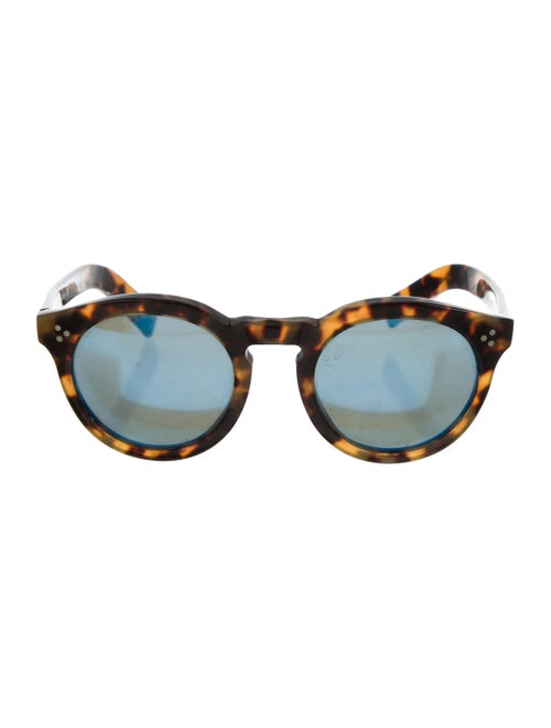 Illesteva Round Mirrored Sunglasses Brown