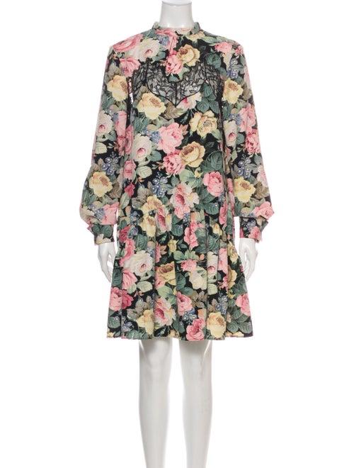 Vivetta Floral Print Mini Dress Black