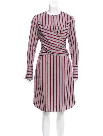 Victoria, Victoria Beckham Striped Tie-Waist Dress w/ Tags None