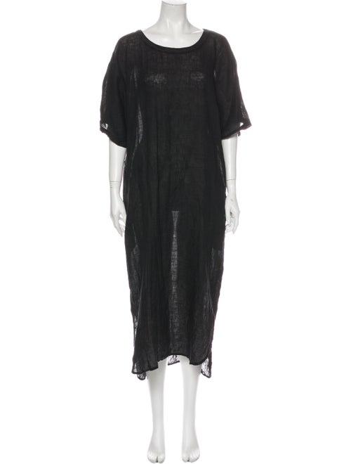 Black Crane Linen Midi Length Dress Black