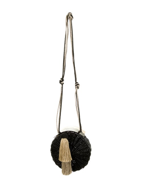 Waiwai Wicker Crossbody Bag Black