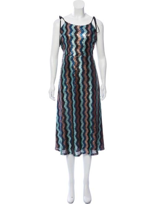 Walter Baker Chevron Embellished Dress Blue