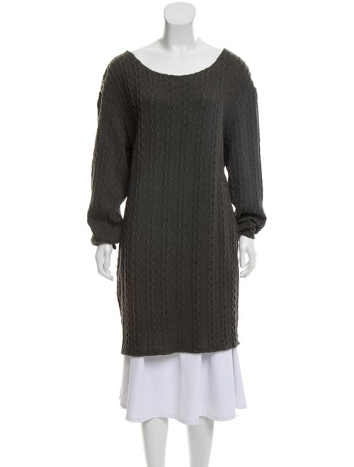 Walter Baker Cable-Knit Sweater Dress green