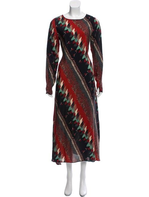 Warm Printed Maxi Dress Black