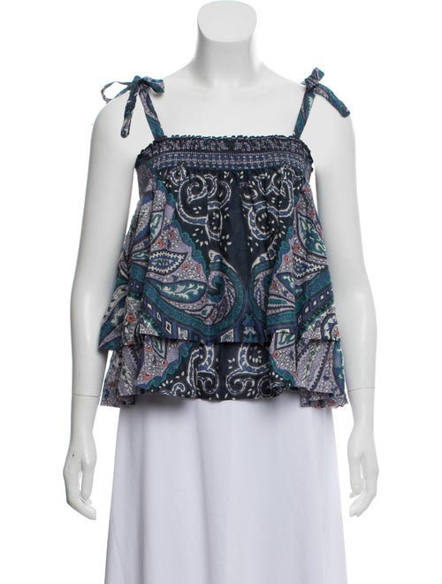 Warm Paisley Smocked Top w/ Tags Blue - image 1