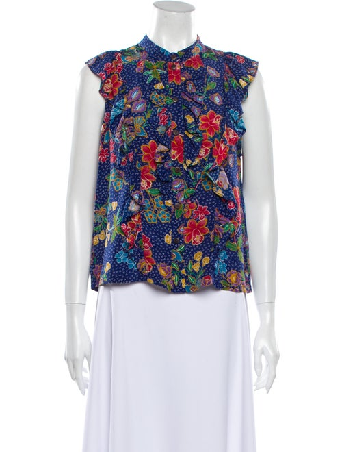 Warm Silk Floral Print Blouse Blue