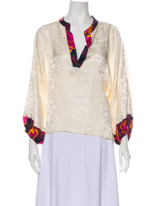 Warm Silk Floral Print Blouse