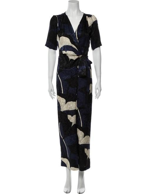 Warm Silk Floral Print Jumpsuit Blue