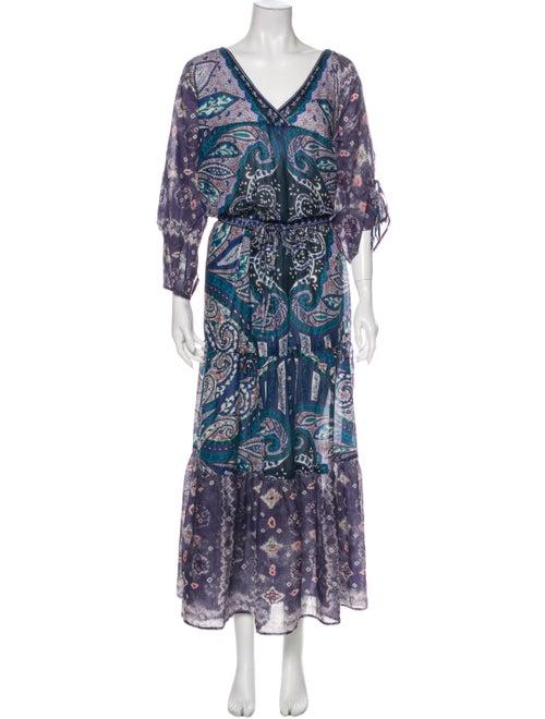 Warm Paisley Print Long Dress Purple