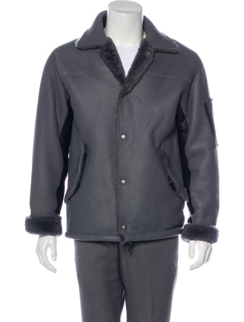 Coach 1941 Shearling-Lined Leather Jacket grey