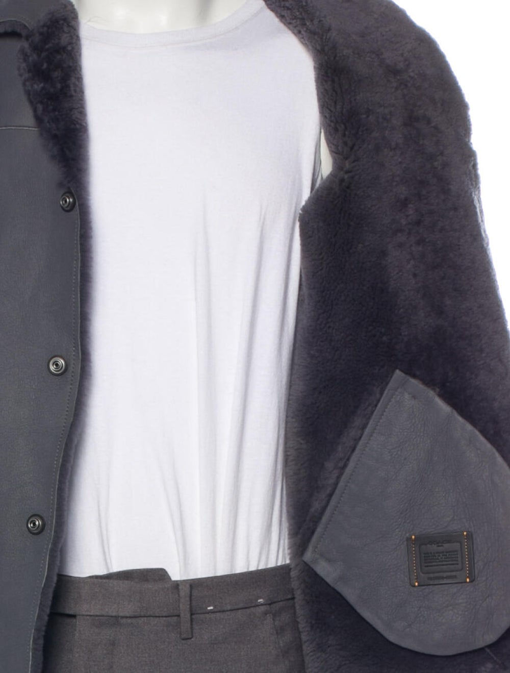 Coach 1941 Shearling-Lined Leather Jacket grey - image 4