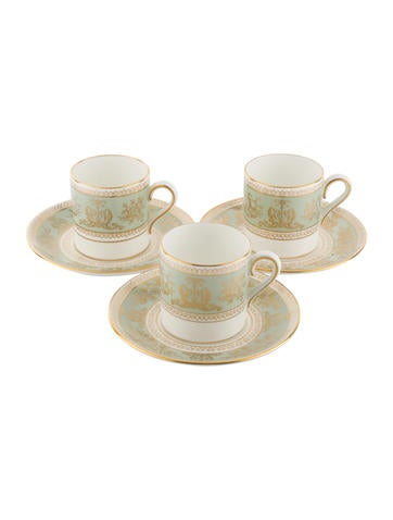 Wedgwood 7-Piece Gold Columbia Sage Green Demitasse Cups and Saucers Partial-Set None