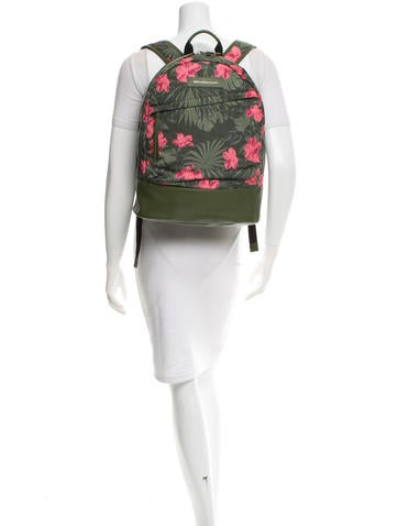 Leather-Trimmed Floral Backpack