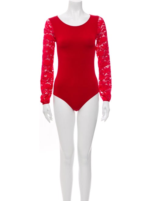 Wolford Lace Pattern Scoop Neck Bodysuit Red
