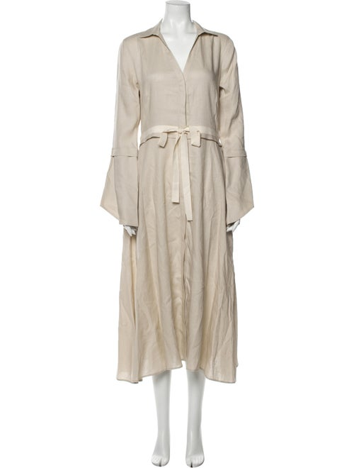 White Story Linen Midi Length Dress w/ Tags White