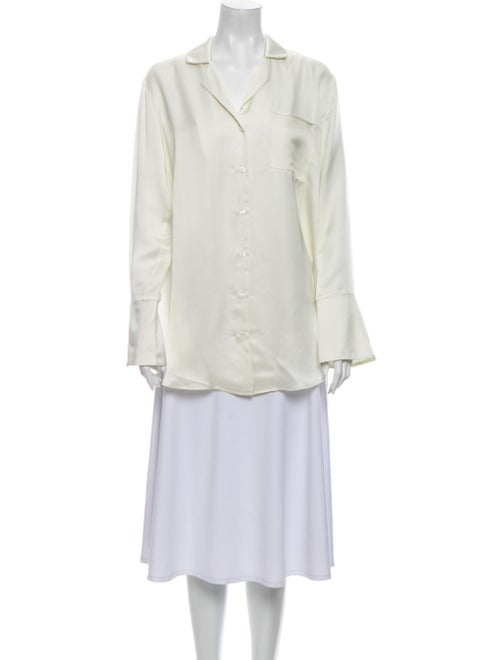 White Story Long Sleeve Button-Up Top White