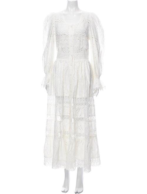 WaiMari Lace Pattern Long Dress White