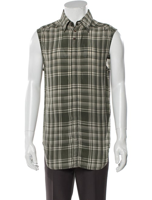 Wales Bonner Plaid Print Sleeveless Shirt Green