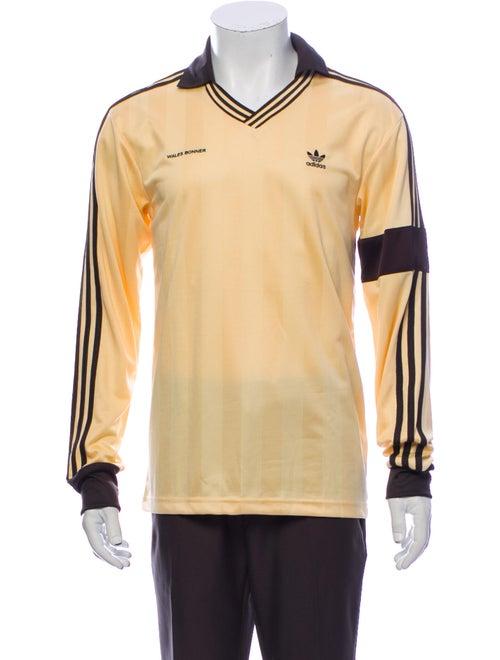 Wales Bonner Striped V-Neck Polo Shirt w/ Tags Yel