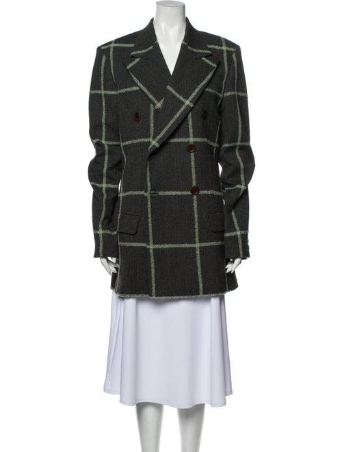 Wales Bonner Virgin Wool Plaid Print Peacoat w/ Ta