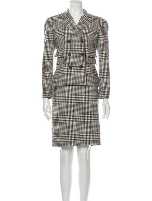 Worth Wool Plaid Print Skirt Suit Wool