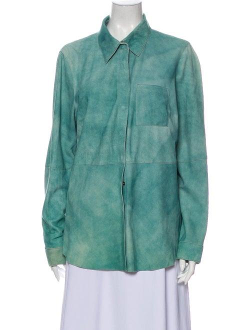 Worth Leather Tie-Dye Print Jacket Green