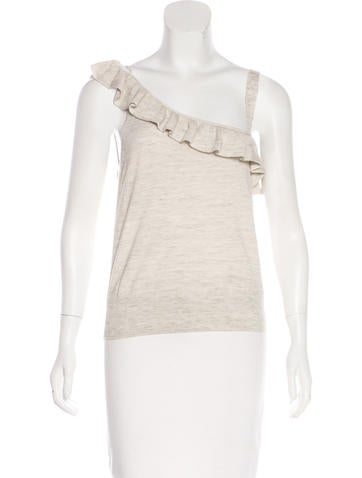 White + Warren Ruffle-Trimmed Sleeveless Top None