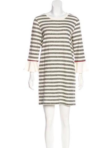 White + Warren Striped Knit Dress None