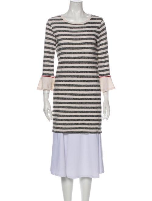 White + Warren Striped Scoop Neck Sweater White