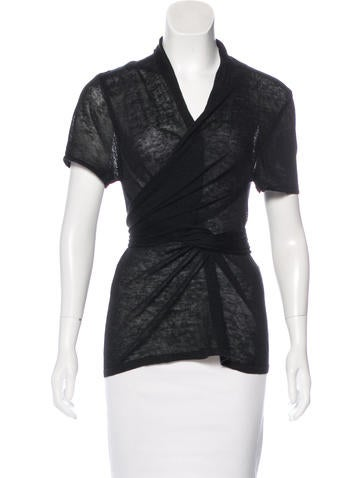The Wrights Linen Tie-Accented Top None