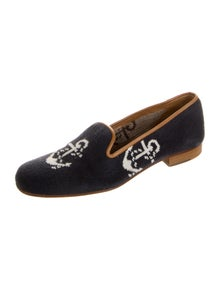 Stubbs & Wootton Graphic Print Embroidered Accent Loafers