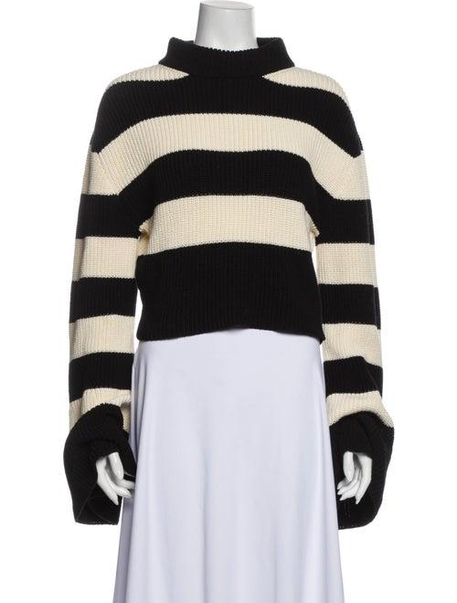 TRE Striped Turtleneck Sweater Black