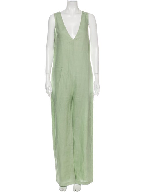 Nomia Linen V-Neck Jumpsuit Green