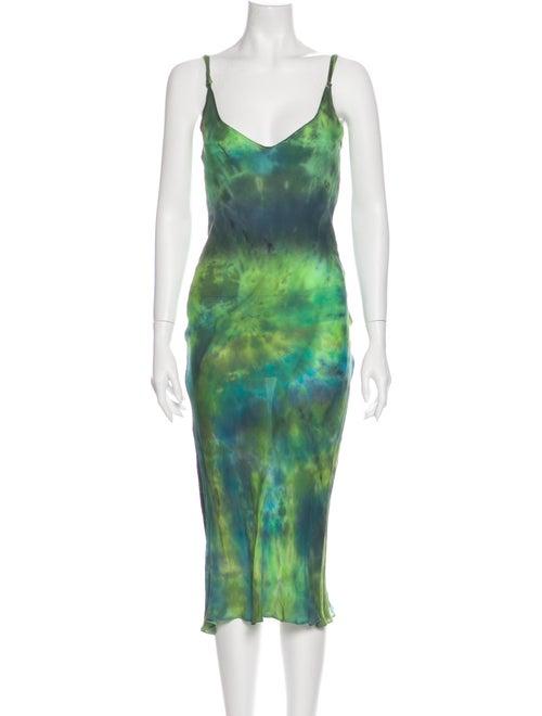 Collina Strada Silk Long Dress Green