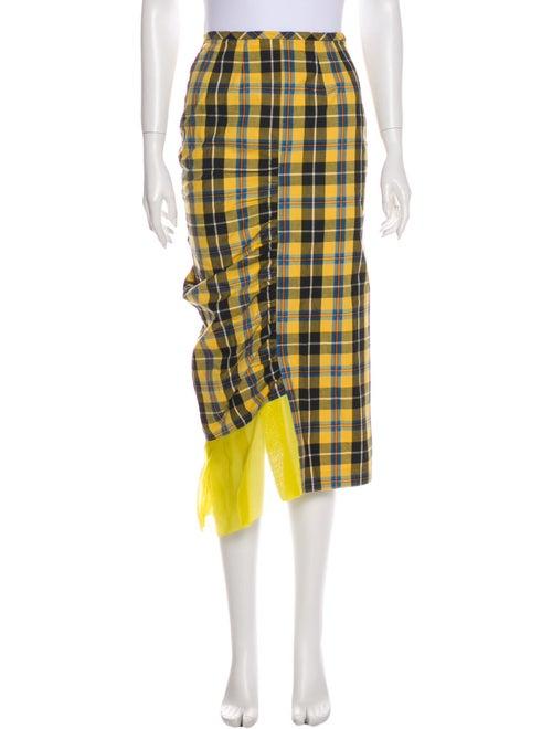 Collina Strada Plaid Print Midi Length Skirt Yello