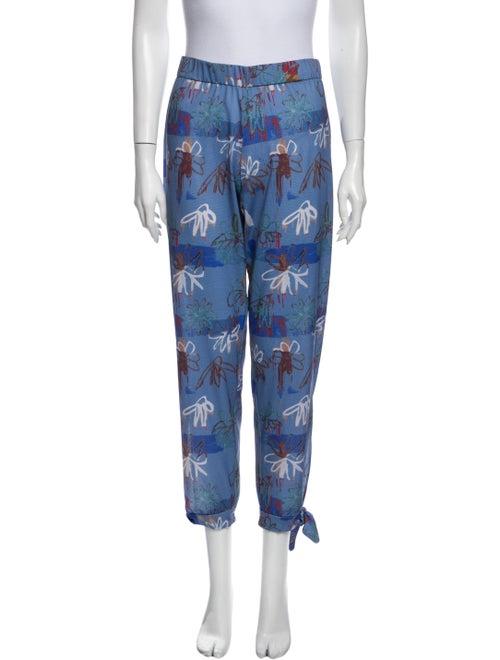 Collina Strada Printed Skinny Leg Pants Blue