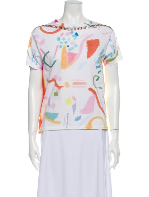 Collina Strada Printed Bateau Neckline T-Shirt Whi