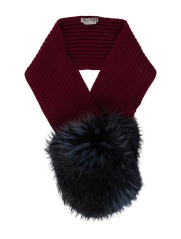 SportMax Fox Fur-Trimmed Scarf None