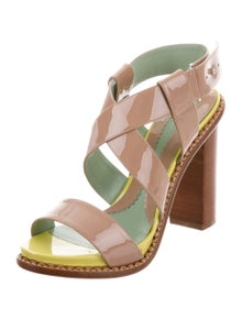 d3be3a231bd SportMax. Patent Leather Crossover Sandals