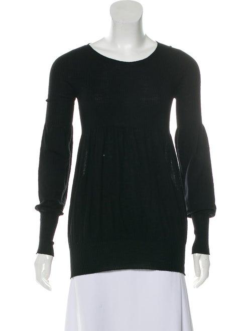 SportMax Virgin Wool Puff Sleeve Sweater Black