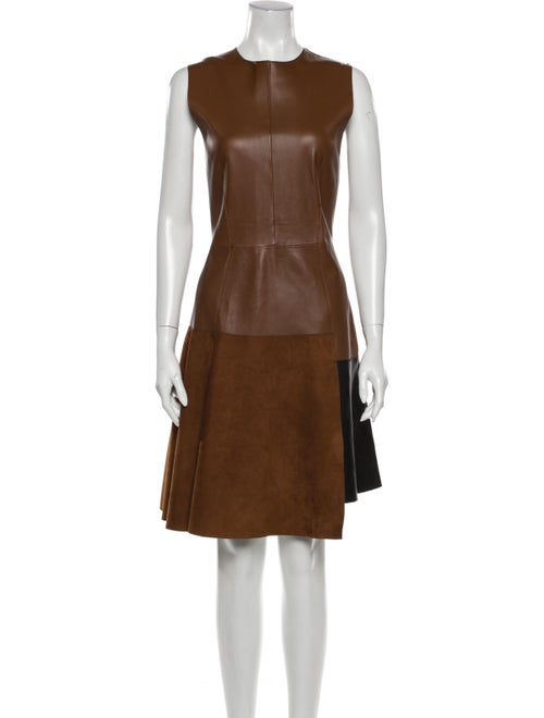 SportMax Lamb Leather Knee-Length Dress Brown