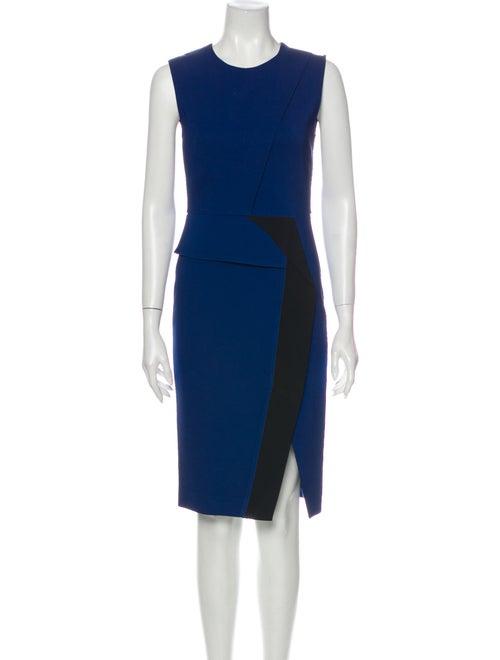 SportMax Colorblock Pattern Knee-Length Dress Blue
