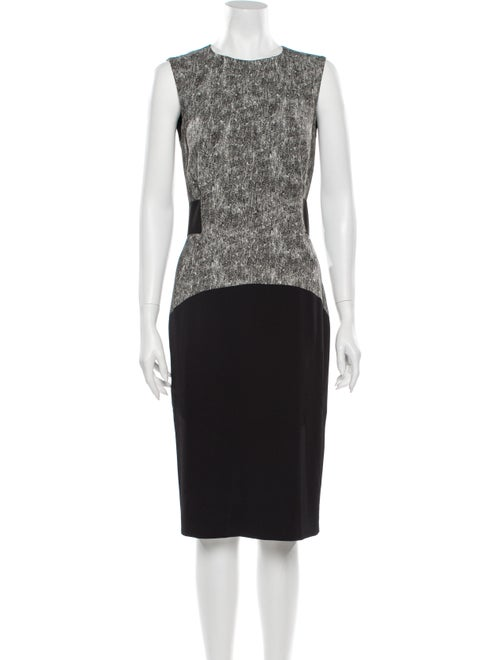 SportMax Colorblock Pattern Midi Length Dress Grey